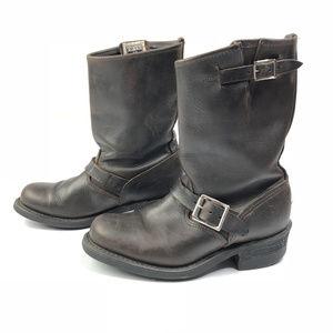 Vintage Frye Brown Engineer Boots Distressed 7